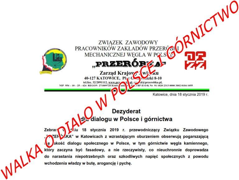 Dezyderat dla dialogu w Polsce i górnictwa