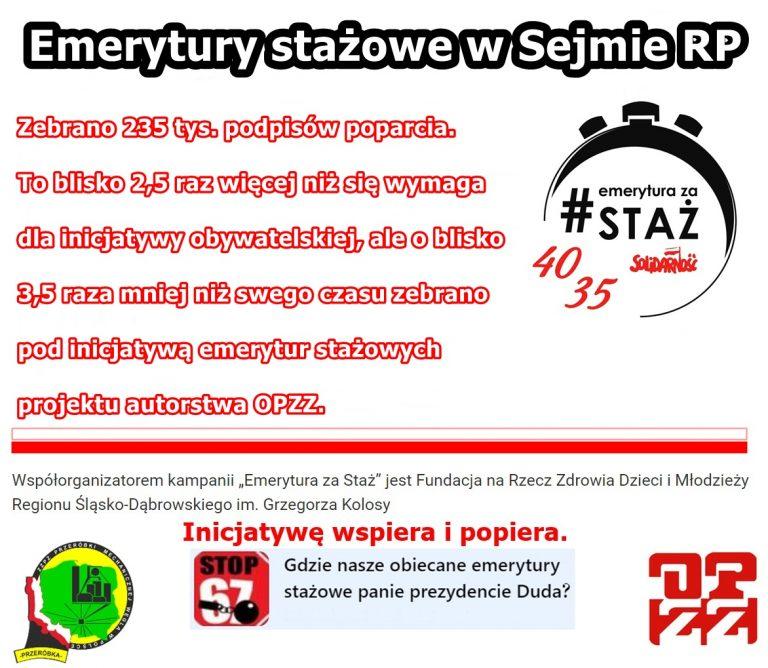 Emerytury stażowe w Sejmie RP wraz z 235 tys. podpisami poparcia pod projektem – czekamy w działaniu!